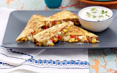 Quesadilla with cilantro-lime sour cream